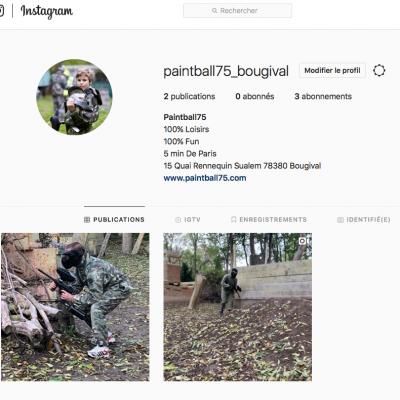Capture d'écran du compte Instagram de Paintball 75 Paris