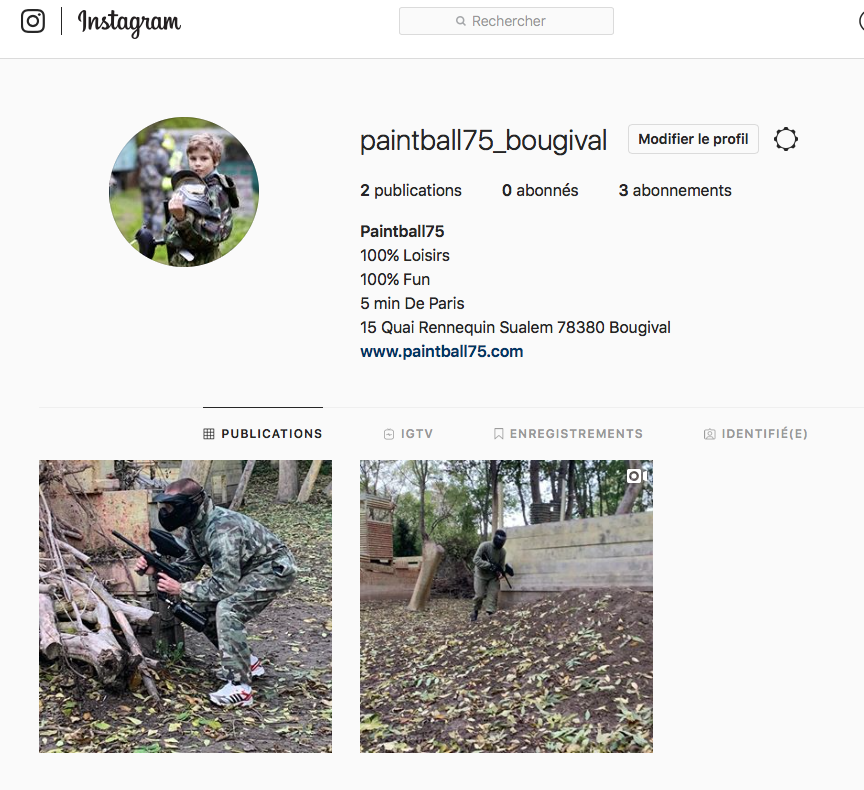 Capture d'écran du compte Instagram de Paintball 75 Paris